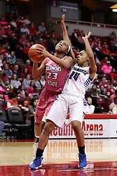 05 February 2016: Tierra Webb is out of position to stop a shot by Viria Livingston(23). Illinois State University Women's Redbird Basketball team hosted the Sycamores of Indiana State for a Play4 Kay game at Redbird Arena in Normal Illinois.