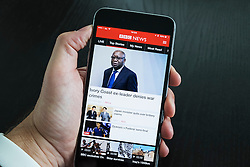 BBC News website app on an iPhone 6 Plus smart phone