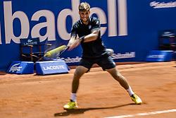 April 25, 2018 - Barcelona, Catalonia, Spain - MARTIN KLIZAN (SVK) returns the ball to Novak Djokovic (SRB) during Day 3 of the 'Barcelona Open Banc Sabadell' 2018.  Klizan won 6:2, 1:6, 6:3 (Credit Image: © Matthias Oesterle via ZUMA Wire)