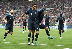 MOSCOW, July 15, 2018  Antoine Griezmann (R front) of France celebrates scoring during the 2018 FIFA World Cup final match between France and Croatia in Moscow, Russia, July 15, 2018. (Credit Image: © Cao Can/Xinhua via ZUMA Wire)