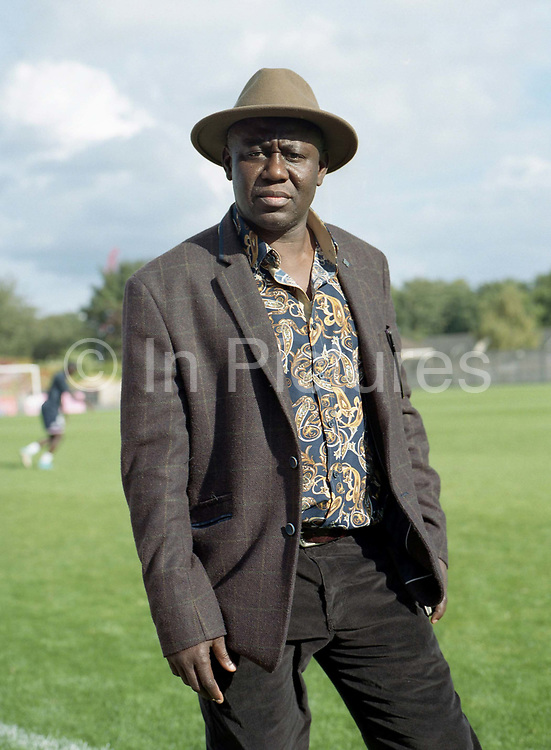 Abdul Cole, former Sierra Leone International player ahead of the Dulwich Hamlet FC vs Sierra Leone, charity game, at Champion Hill on 17th September 2017 in South London in the United Kingdom. Sierra Leonean ex-footballers in London played against Dulwich Hamlet fc in a fundraiser match at Champion Hill in aid for victims of Freetown mudslide victims in Sierra Leone, Africa.