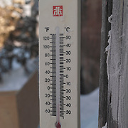 A thermometer registering -40 degrees Fahrenheit at Watchee Lodge in Wapusk National Park during the month of February.