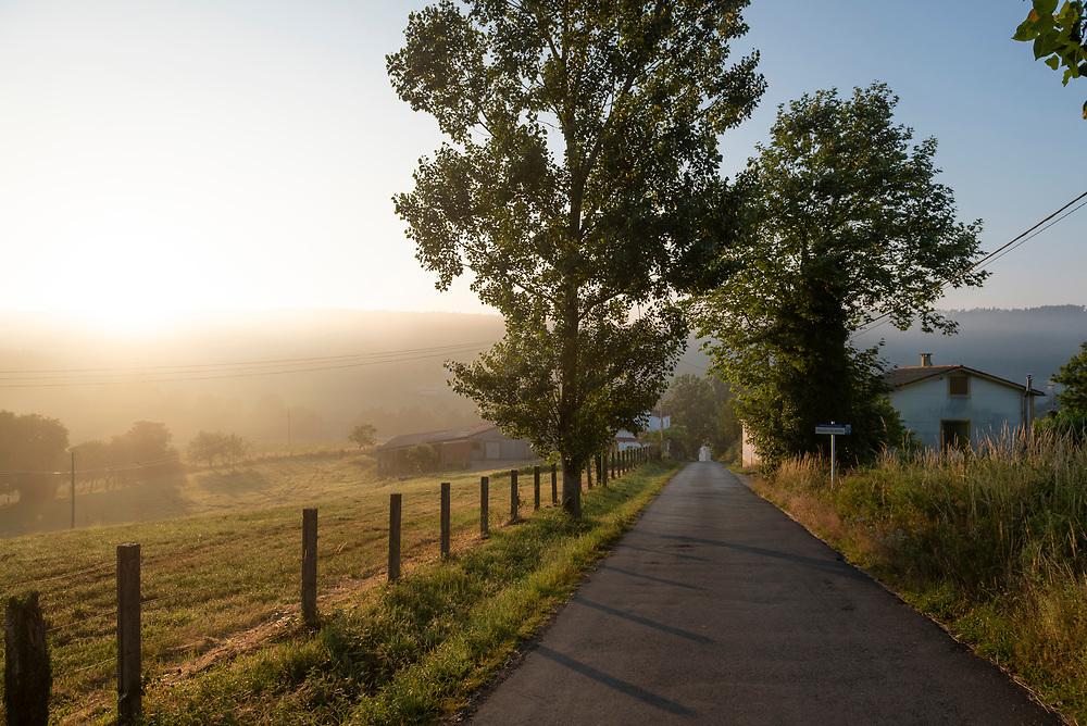 A road leads to the Galician village of Ribadiso da Baixo at sunrise on the Camino de Santiago