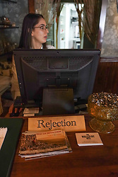 The reception desk of the Walled Off Hotel (owned by Bansky) near the wall of separation in Bethlehem. From a series of travel photos taken in Jerusalem and nearby areas. Photo date: Wednesday, August 1, 2018. Photo credit should read: Richard Gray/EMPICS