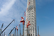 Cranes at the site of Tokyo Sky Tree under construction. Tokyo, Japan. Monday June 21st 2010. In this image the unfinished telecommunication tower stands at 398 metres high, Upon completion it will measure 634 metres from top to bottom, becoming the tallest structure in East Asia.
