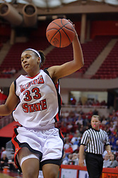 07 February 2009: Shala Jackson. Illinois State increased their 1st place lead by beating 2nd place Indiana State by a score of 69-48. The Illinois State University Redbirds hosted the Indiana State University Sycamores on Doug Collins Court inside Redbird Arena on the campus of Illinois State University in Normal Illinois