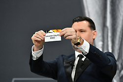 NYON, SWITZERLAND - Monday, December 14, 2020: Former Portugal player Maniche draws out Leicester City FC during the UEFA Europa League 2020/21 Round of 32 draw at the UEFA Headquarters, the House of European Football. (Photo Handout/UEFA)