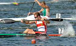 SOREN SCHUST (GERMANY) COMPETES IN MEN'S K1 RELAY 200 METERS FINAL A RACE DURING 2010 ICF KAYAK SPRINT WORLD CHAMPIONSHIPS ON MALTA LAKE IN POZNAN, POLAND...POLAND , POZNAN , AUGUST 22, 2010..( PHOTO BY ADAM NURKIEWICZ / MEDIASPORT ).