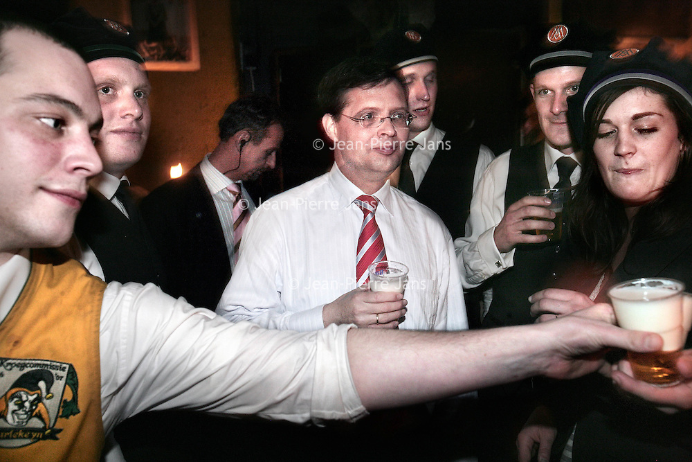 Nederland, Groningen, 07-02-2007.<br /> Minister President Jan Peter Balkenende op de dag van de presentatie van het nieuwe kabinet Balkenende lV, 's avonds te gast bij studentenvereniging Albertus Magnus.<br /> Jan-Peter Balkenende wordt genoemd als kandidaat voor het eerste Europees Voorzitterschap. Prime minister Jan-Peter Balkenende is visiting a students' corps.<br /> The Dutch prime minister's name continues to be mentioned in the corridors of power in Brussels as the first  permanent president of the EU.