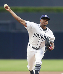 June 28, 2017 - San Diego, CA, USA - The San Diego Padres' Luis Perdomo pitches against the Atlanta Braves during the first inning at Petco Park in San Diego on Wednesday, June 28, 2017. (Credit Image: © Hayne Palmour Iv/TNS via ZUMA Wire)