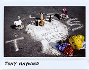 A memorial in a parking lot for Tony Haywood, 25-year-old, in the 7900 block of South Chicago Avenue in Chicago, in this photo taken July 23, 2017. Haywood died from multiple gunshot wounds and family member used white pain to cover up the blood from the shooting which happened on July 17, 2017.