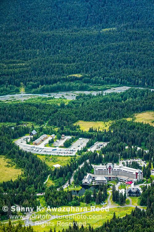 Aerial view of Alyeska Resort Hotel, viewed from top of Mt. Alyeska, Girdwood, Southcentral Alaska, Summer. Vertical image.