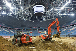 December 8, 2017 - Krakow, Poland - Bulldozers finilise the construction of  the circuit for the Krakow's leg of the FIM SuperEnduro World Championship 2018 in Tauron Arena...On Friday, December 8, 2017, in Krakow, Poland. (Credit Image: © Artur Widak/NurPhoto via ZUMA Press)