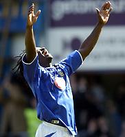 Photo. Richard Lane, Digitalsport..<br /> Portsmouth v Manchester United. FA Barclaycard Premiership. 17/04/2004.<br /> Linvoy Primus celebrates victory over Man Utd.