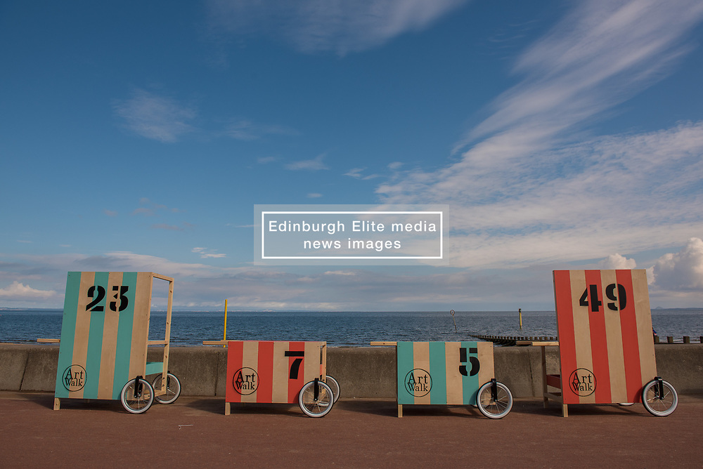 Community arts event Art Walk Porty got underway this afternoon with a promenade procession of the event's 'Art Carts'. The carts, designed to echo the old style bathing carts that used to grace Portobello beach, will be used in a variety of ways by different artists at locations across Portobello, Edinburgh's seaside suburb. The Art Walk is now in its third year and will run over the next day days with a range of events and exhibitions.
