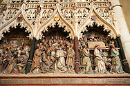 Gothic sculptures (1530 ) depicting scenes from the life of St Firmin (3rd century), Cathedral of Notre-Dame, Amiens, France . The Cathedral Basilica of Our Lady of Amiens or simply Amiens Cathedral, is a Roman Catholic  cathedral the seat of the Bishop of Amiens. It is situated on a slight ridge overlooking the River Somme in Amiens. Amiens Cathedral, was built almost entirely between 1220 and c.1270, a remarkably short period of time for a Gothic cathedral, giving it an unusual unity of style. Amiens is a classic example of the High Gothic style of Gothic architecture. It also has some features of the later Rayonnant style in the enlarged high windows of the choir, added in the mid-1250s. Amiens Cathedra has been listed as a UNESCO World Heritage Site since 1981. Photos can be downloaded as Royalty Free photos or bought as photo art prints. <br /> <br /> Visit our MEDIEVAL PHOTO COLLECTIONS for more   photos  to download or buy as prints https://funkystock.photoshelter.com/gallery-collection/Medieval-Middle-Ages-Historic-Places-Arcaeological-Sites-Pictures-Images-of/C0000B5ZA54_WD0s