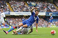 Bakary Sako of Crystal Palace fouls Cesc Fabregas of Chelsea. Barclays Premier League, Chelsea v Crystal Palace at Stamford Bridge in London on Saturday 29th August 2015.<br /> pic by John Patrick Fletcher, Andrew Orchard sports photography.