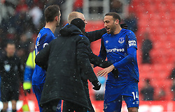 Everton's Cenk Tosun celebrates after the final whistle during the Premier League match at the bet365 Stadium, Stoke.