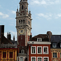 Europe, France, Lille. Lille architecture and belltower.