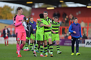 Forest Green Players Celebrate at the full time whistle  during the EFL Sky Bet League 2 match between Stevenage and Forest Green Rovers at the Lamex Stadium, Stevenage, England on 21 October 2017. Photo by Adam Rivers.