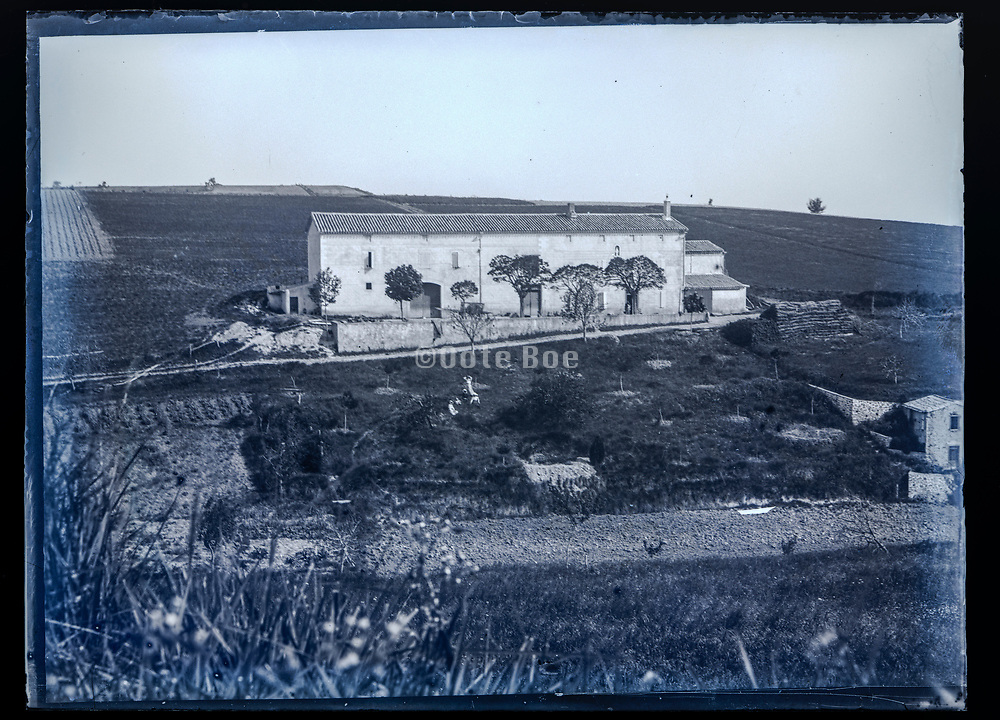 South France  large farm house in rural Languedoc landscape ca 1920s