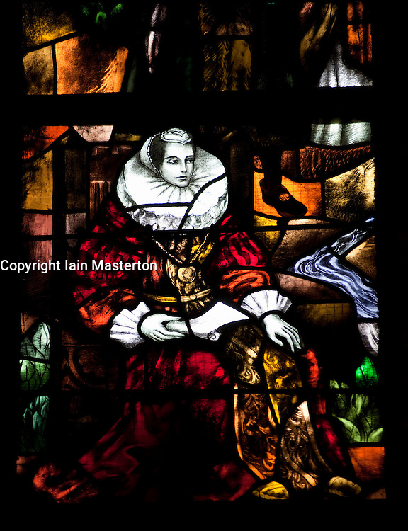 Stained glass windows in Nieuwe Kerk or New church in Delft The Netherlands
