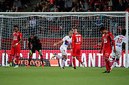 Mariano DIAZ MEJIA (Olympique Lyonnais) headed the ball to score a goal against Hamari TRAORE (STADE RENNAIS FOOTBALL CLUB) and Abdoulaye DIALLO (STADE RENNAIS FOOTBALL CLUB), celebration, Benjamin BOURIGEAUD (STADE RENNAIS FOOTBALL CLUB), Bertrand TRAORE (Olympique Lyonnais), Benjamin ANDRE (STADE RENNAIS FOOTBALL CLUB) during the French championship L1 football match between Rennes v Lyon, on August 11, 2017 at Roazhon Park stadium in Rennes, France - Photo Stephane Allaman / ProSportsImages / DPPI