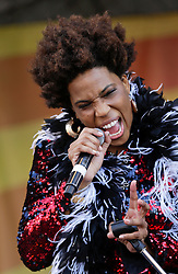01 May 2015. New Orleans, Louisiana.<br /> The New Orleans Jazz and Heritage Festival. <br /> Macy Gray performs with Galactic on the Acura stage.<br /> Photo; Charlie Varley/varleypix.com