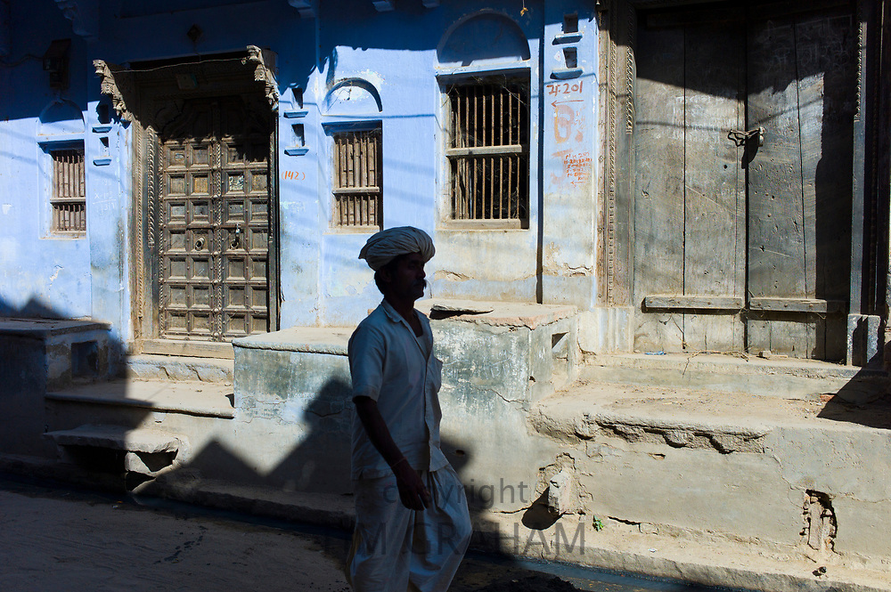 Ancient doorways in the village of Narlai in Rajasthan, Northern India