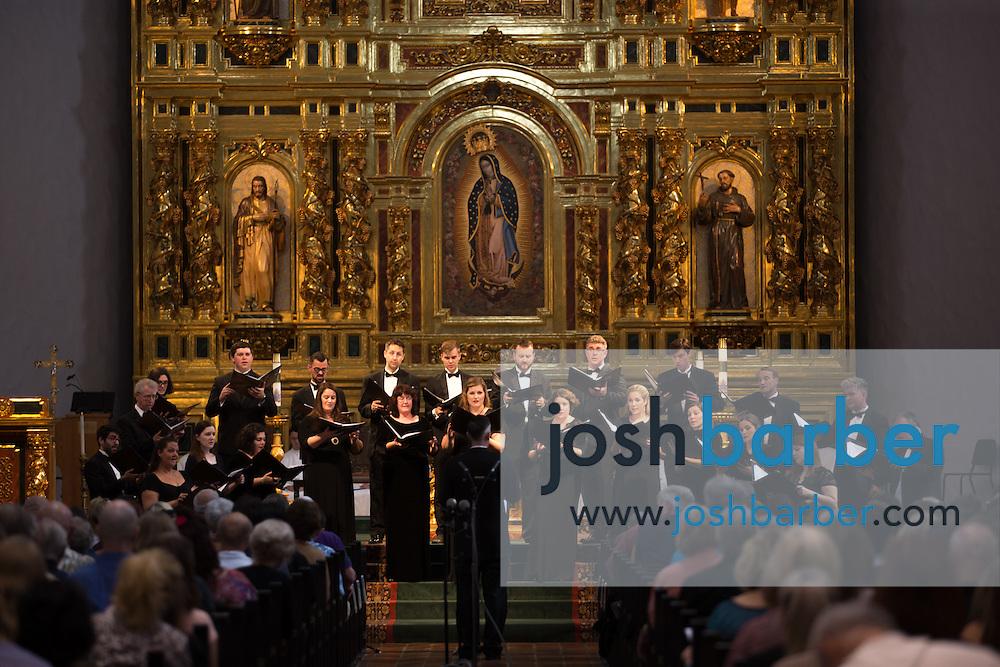 de Angelis Vocal Ensemble during a concert at Mission Basilica San Juan Capistrano on Saturday, Oct. 24, 2015 in San Juan Capistrano, California.
