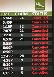 A monitor indicates all flights are cancelled as Orlando International Airport is closed on Tuesday, September 3, 2019 ahead of Hurricane Dorian. Photo by Stephen M. Dowell/Orlando Sentinel/TNS/ABACAPRESS.COM