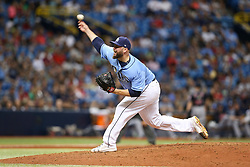 August 13, 2017 - St. Petersburg, Florida, U.S. - WILL VRAGOVIC       Times.Tampa Bay Rays relief pitcher Tommy Hunter (49) throwing in the eighth inning of the game between the Cleveland Indians and the Tampa Bay Rays at Tropicana Field in St. Petersburg, Fla. on Sunday, August 13, 2017. The Cleveland Indians beat the Tampa Bay Rays 4-3. (Credit Image: © Will Vragovic/Tampa Bay Times via ZUMA Wire)