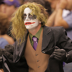 2008 October, 06: A New Orleans Saints fan dressed as the Joker from Batman during a week five regular season game between the Minnesota Vikings and the New Orleans Saints for Monday Night Football at the Louisiana Superdome in New Orleans, LA.