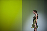 A model showcases designs of Himkala Limbu on the runway during the Designer's Collection Show on day 3 of Hong Kong Fashion Week Autumn/Winter 2013 at the Convention and Exhibition Centre on January 16, 2013 in Hong Kong, China. (Photo by Victor Fraile/illume visuals)