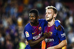 May 9, 2018 - Barcelona, Catalonia, Spain - 11 Ousmane Dembele from France of FC Barcelona celebrating his goal with 04 Ivan Rakitic from Croatia of FC Barcelona  during the  La Liga football match between FC Barcelona v Villarreal CF at Camp Nou Stadium in Spain on May 9 of 2018. (Credit Image: © Xavier Bonilla/NurPhoto via ZUMA Press)