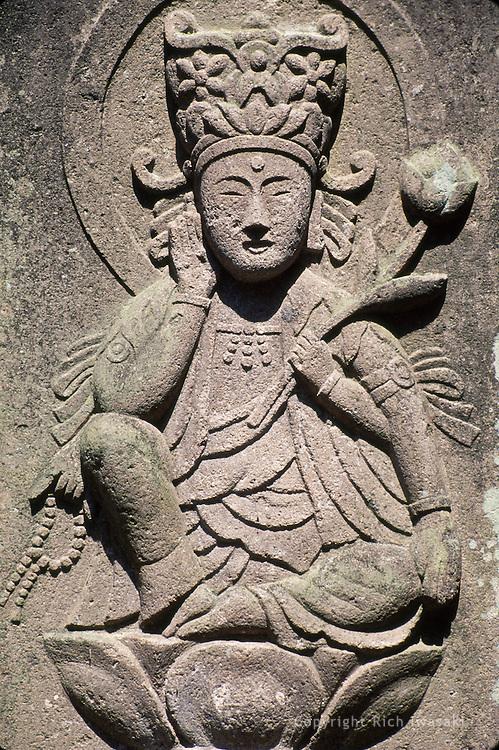Closeup view of stone buddha figure at Keitoku-ji (temple), Hirosaki city, Aomori Prefecture, Japan