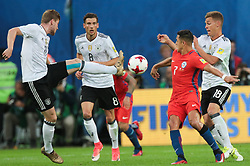 July 2, 2017 - Saint Petersburg, Russia - Timo Werner (L), Leon Goretzka of the Germany national football team and Alexis Sanchez of the Chile national football team vie for the ball during the 2017 FIFA Confederations Cup final match between Chile and Germany at Saint Petersburg Stadium on July 02, 2017 in St. Petersburg, Russia. (Credit Image: © Igor Russak/NurPhoto via ZUMA Press)