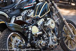 Custom HD Shovelhead in the Harley-Davidson Editors Choice bike show at the Broken Spoke Saloon. Daytona Bike Week 75th Anniversary event. FL, USA. Wednesday March 9, 2016.  Photography ©2016 Michael Lichter.