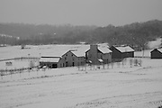 Berks County, Pennsylvania, winter snow and farm scene