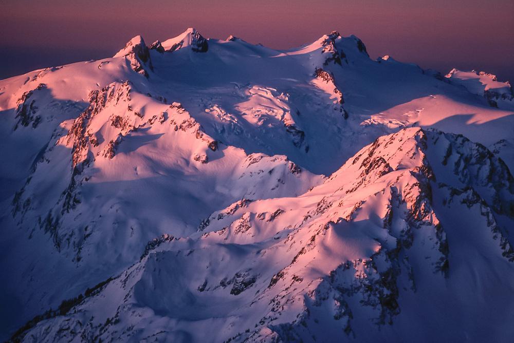 Aerial view, Mount Olympus, morning light, December, Olympic National Park, Washington, USA