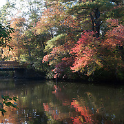 Footbridge over the Ipwich River with fall colors