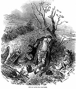 Potato Famine: Irish peasant family unable to pay rent because of failure of the potato crop due to Potato Blight (Phytophthora infestans), finding shelter in a hedgerow the day after eviction from their cottage.  From 'The Illustrated London News', December 1848. Wood engraving.