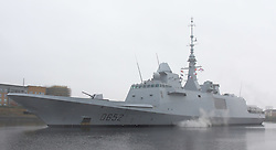 Pictured: French Frigate (D652) Provence leaves King George V Dock, Govan Glasgow heading out to take part in Joint Warrior 172 Formidable Shield Exercises.<br /> <br /> <br /> © Stephen Smyth/ EEm