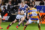 Auckland player Jordan Trainor on the charge against Bay of Plenty during the Mitre 10 Cup match played at Rotorua International Stadium in Rotorua on Friday 2nd October 2020.<br /> Copyright photo: Alan Gibson / www.photosport.nz
