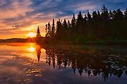 Sunrise on Lac du fou<br />La Mauricie National Park<br />Quebec<br />Canada