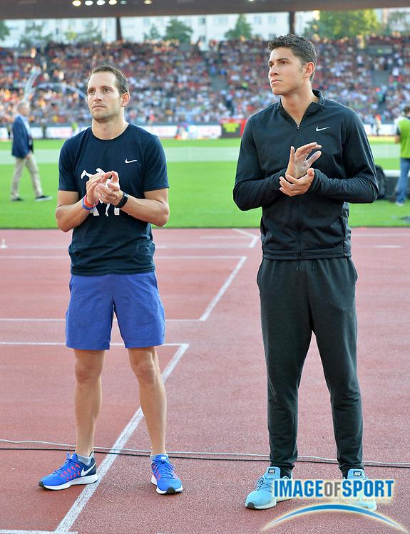 Sep 1, 2015; Zurich, SWITZERLAND; Renaud Lavillenie (FRA), left, and Thiago Braz da Silva (BRA) are introduced before the pole vault at the 2016 Weltklasse Zurich during an IAAF Diamond League meeting at Letzigrund Stadium. Photo by Jiro Mochizuki