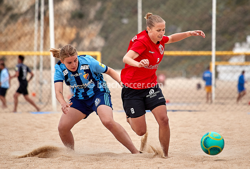 NAZARE, PORTUGAL - JUNE 6: Michelle Eisenegger of BSC Havana Shots and Ebba Nilsson of Djurgardens IF FF during the Euro Winners Cup Nazaré 2019 at Nazaré Beach on June 6, 2019 in Nazaré, Portugal. (Photo by Jose M. Alvarez)