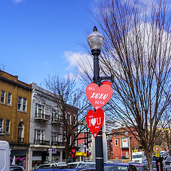"Lancaster, PA, USA - February 14, 2020: The Penn Square Rotary Club ""Hearts  For Lancaster"" campaign posts a personalized sign as an expression of affection on a lamppost downtown."