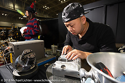 Engraving demo by G Classic Custom Paint and Engraving in the Endo Auto Service booth at the 27th Annual Mooneyes Yokohama Hot Rod Custom Show 2018. Yokohama, Japan. Sunday, December 2, 2018. Photography ©2018 Michael Lichter.