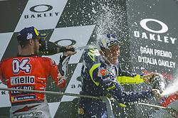 June 3, 2018 - Scarperia, Tuscany, Italy - Andrea Dovizioso and Valentino Rossi  on podium after race of  Italian Motogp at Mugello Circuit, Scarperia, Italy; (Credit Image: © Gaetano Piazzolla/Pacific Press via ZUMA Wire)
